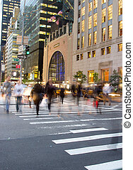 Rush hour at Fifth Avenue, NY - Motion blur of people...