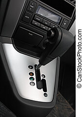 Auto gear shift handle closeup