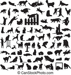 different set of silhouettes of cat - many different cats in...