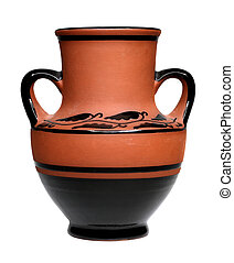 Old clay vase - Old brown vase isolated on white background