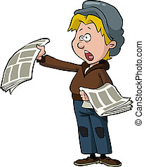 Newsboy on a white background vector illustration