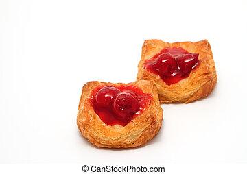 cherry danish pastry  on white background