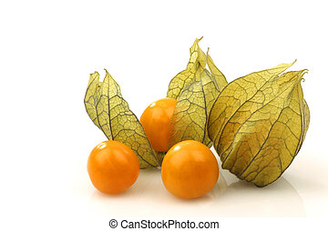 physalis fruit Physalis peruviana and peeled ones on a white...