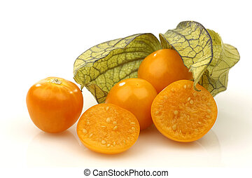 physalis fruit (Physalis peruviana) and some cut ones on a...