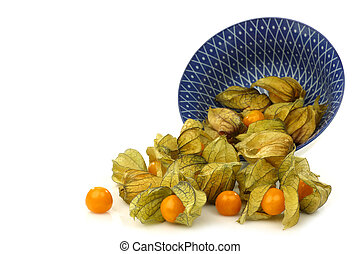 physalis fruit (Physalis peruviana) - a decorated bowl with...
