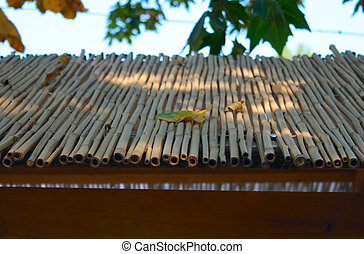 Bamboo roof closeup - Bamboo covered roof closeup photo