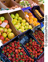 Fresh fruit and vegetables on a market