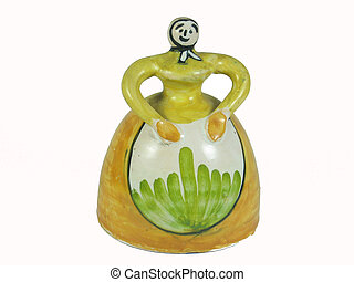 Naive art figurine bell isolated - Naive art woman figurine...