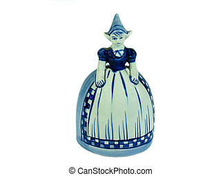 Traditional Dutch Delft figurine bell isolated - Traditional...