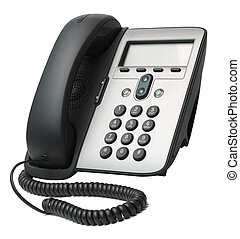 VoIP Phone isolated on white background - Modern VoIP Phone...