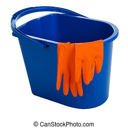 Blue water bucket and gloves, isolated on white background