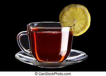 Cup of black tea with lemon isolated on black background