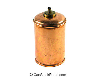 Antique copper oil lamp isolated on white
