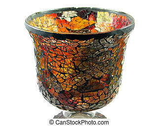 Stained glass vase isolated - Colorful decorative stained...