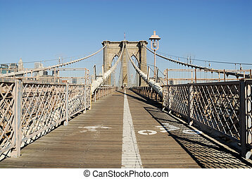 Brooklyn Bridge - Bike and Pedestrian Lanes on the Brooklyn...