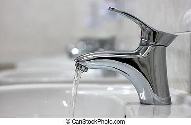ouvert, eau, robinet