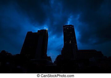 Noir building - The silhouletted buildings in the dark night...
