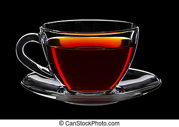 Cup of black tea isolated on black background