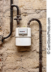 Gas meter in a house under renewal