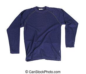 Blue long sleeve shirt isolated on white background