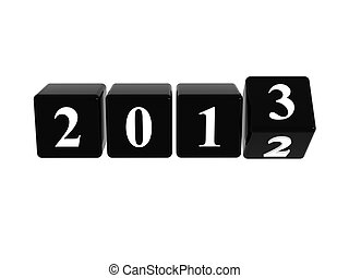 2013 in black boxes - 3d black cubes with white figures with...