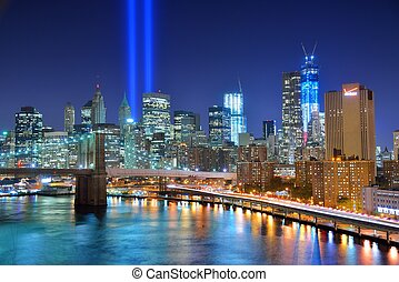 Tribute in Light, a remembrance for the 911 attack in New...