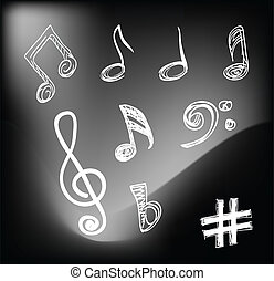 Musical notes - Varios Hand-drawn musical notes on black...