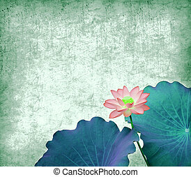 Water Lily on grunge textured background