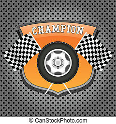 Wheel and checkered flags on orange shield