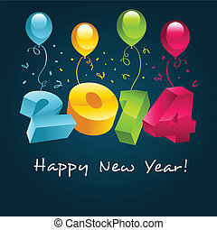 Happy New Year 2014 - Vector happy new year 2014 greeting...