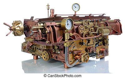 el, steampunk, mecanismo