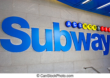 Subway sign, NYC - A big Subway sign on 42nd Street in...