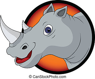 funny rhino head cartoon - vector illustration of funny...