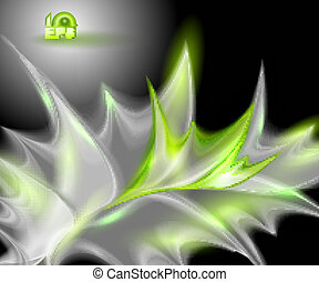 Abstract black background with green leaves