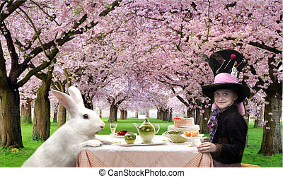 Tea party - Girl in a hat and with rabbit