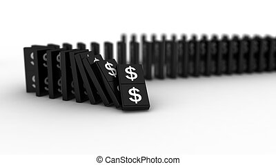 Domino dollar - 3D rendering of falling blocks representing...