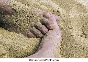 feet in beach
