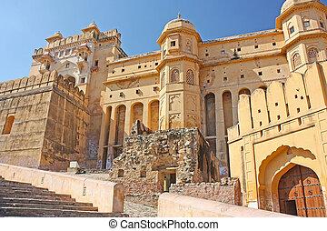 beau, ambre, fort, Jaipur, ville, Inde, Rajasthan