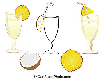 drink glasses - Drink glasses with pineapple, coconut and...