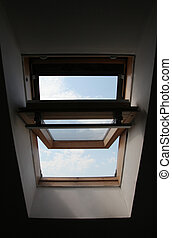 Opened skylight - Seen through the open sunroof to the...