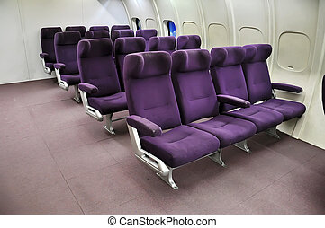 Airplane seats - Seat rows in an airplane cabin