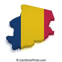 Chad Map Flag Shape