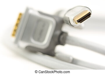 HDMI Cable - closeup - HDMI Cable isolated on a white...
