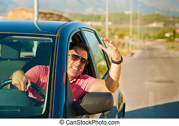 Road rage - Guy gesturing out of the window of his car