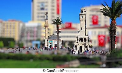 konak square - miniature effect mosque and clock tower at...