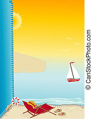 summer beach card - Summer beach vector background with...