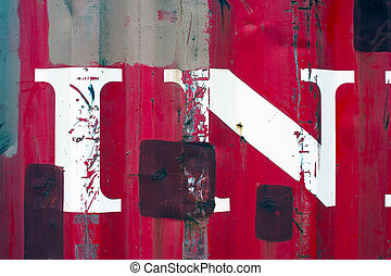 White paint splatters on a red steel wall background texture...