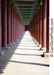Empty corridor in Seoul. - An empty corridor at Kyoungbok...