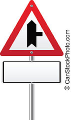 Crossroads Warning Main Road sign