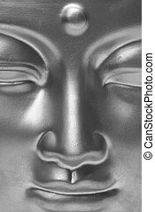 Black and white Buddha. - Golden buddha close up in black...